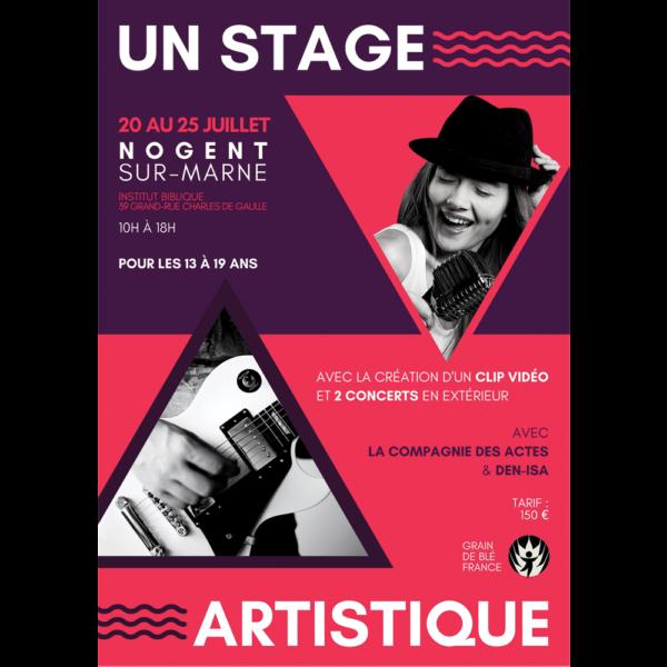 Grain de Blé vous propose un stage artistique du 20 au 25 juillet, avec un clip vidéo et 2 concerts !